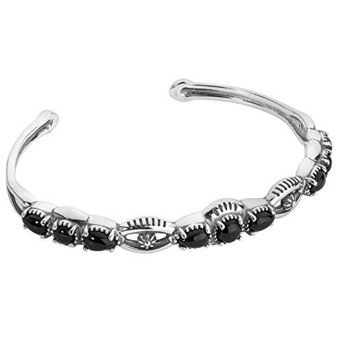 - American West Sterling Silver Black Agate Gemstone Slim Cuff Bracelet Sizes Small