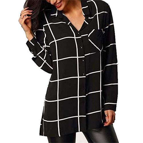 rocicaS Women's Long Sleeve Fashion Plaid Print Tunic Tops Pocket Chiffon Button Pullover Blouses Top T-Shirt