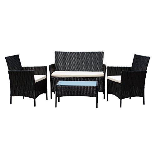 Ebs Polyrattan Gartenmöbel Set Gartengarnitur Sitzgruppe Lounge Garnitur 1 Tisch 3 Stühle Weiß Sitzkissen