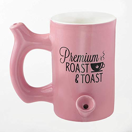 Pink Roast and Toast Coffee Mug with Black Logo, Ceramic