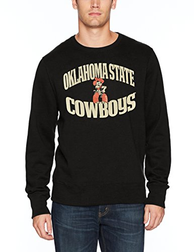 NCAA Oklahoma State Cowboys Adult Men NCAA Men's Ots Fleece Crew Distressed, Medium, Jet Black Black Classic College Crew Fleece