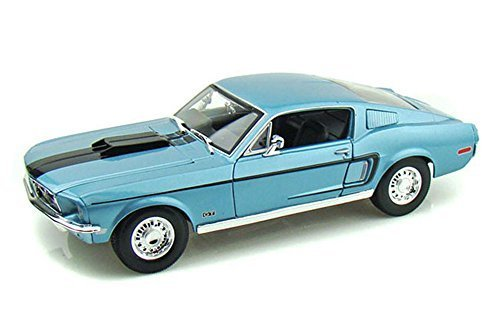 (Maisto 1968 Ford Mustang GT Cobra Jet, Blue Special Edition 31167 - 1/18 Scale Diecast Model Toy Car)