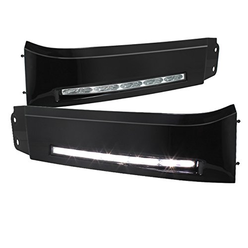 (For 07-13 Toyota Tundra   08-13 Sequoia Black Bezel Build-In LED DRL Daytime Running Light Assembly)