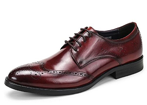 Lace Mens Oxford Boss Leather Happyshop Shoes Shoes Red up Derby Wine TM Dress Carving Bqgv6X