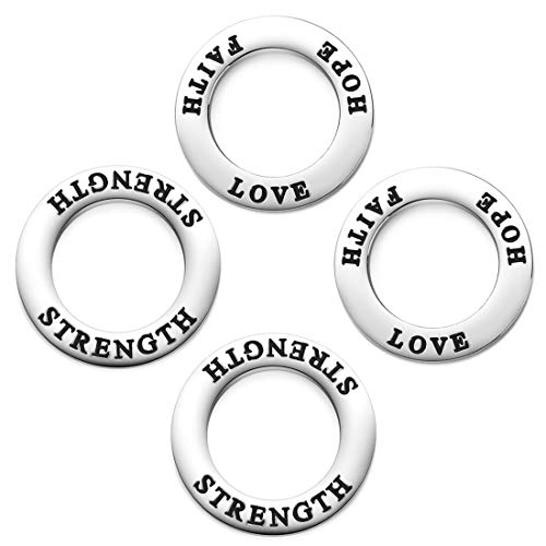 - Strength Faith Hope Love Circle Washer Charm Connector School Spirit Ring Affirmation Charms Jewelry Stainless Steel Charms Jewelry Findings 4Pcs