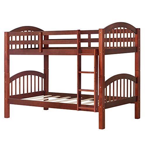 Harper&Bright Designs Bunk Bed Solid Wood Twin Over Twin Bunk Beds with Ladder (Walnut)