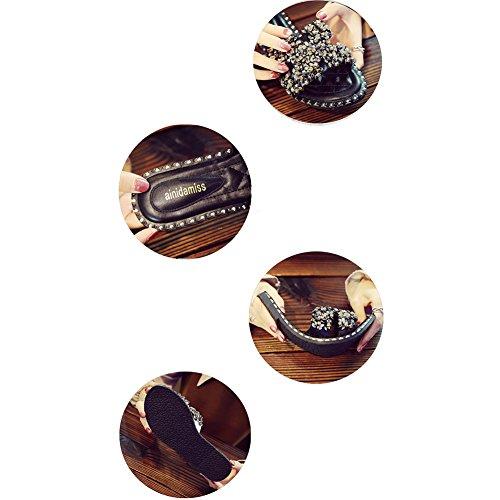 Plano 1cm Zapatillas Arena Altura Imitación Con Zapato Diamante De Ropa Verano Negro Exterior cn39 Lixiong Colores color Moda Playa Tamaño Eu39 uk6 2 Hembra Fondo zapatos 245 Negro vq7da