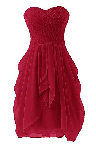 Kurzes Chiffon Cocktailkleider CoutureBridal® Weinrot Kleid Damen Abendkleid Trägerloses tqZa5ZY