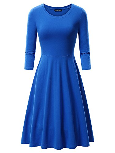 FENSACE Womens 3/4 Sleeves Casual A-line Miss Frizzle Dress(Large, Blue)]()