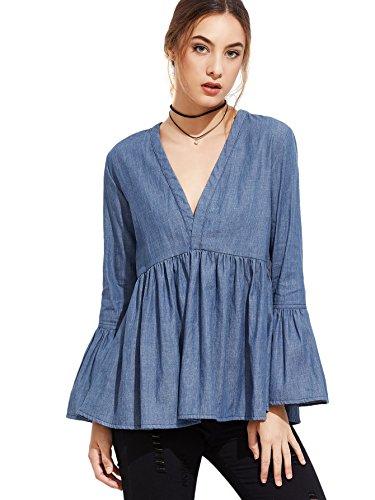 MakeMeChic Women's V Neck Bell Long Sleeve Ruffle Peplum Denim Blouse Shirt Tops Blue S