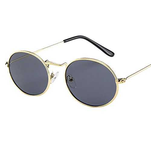 Trendy Fashion Metal - KCPer Vintage Retro Oval Sunglasses Ellipse Metal Frame Trendy Fashion Shades Eyewear (E)