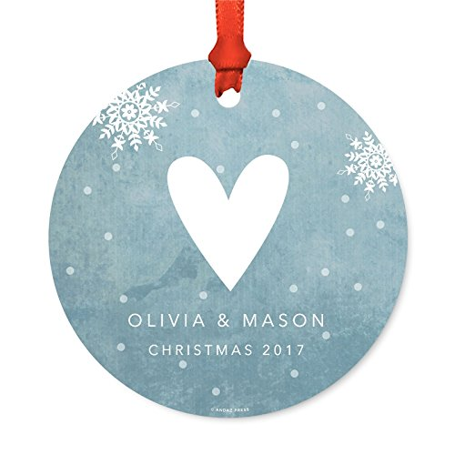 Andaz Press Personalized Family Christmas Ornament, Metal, Blue Winter Wonderland Heart Olivia & Mason Christmas 2019, 1-Pack, Custom Letter Name, Includes Ribbon and Gift Bag