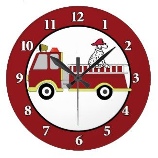 Firetruck with Dalmatian Dog Firefighter Round Large