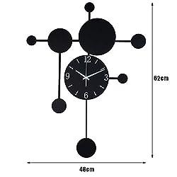 YB&GQ Creative Modern Wall Clock Swinging Pendulum,Silent Not-Ticking Wall Clock Decorative,Quality Quartz Battery Operated-Black 48x62cm(19x24inch)
