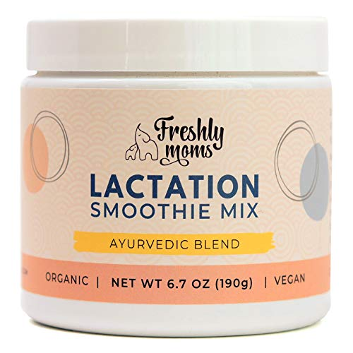 Freshly Moms Organic Lactation Smoothie Mix - Boost Breast Milk Supply - Ayurvedic Powder Drink Supplement - Add To Juices Smoothies Water Milk - 24 Servings
