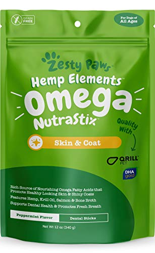 Omega 3 Dental Sticks for Dogs - With Hemp, Salmon, Krill Oil & Bone Broth - Anti Itch Skin & Coat Care + Hip & Joint Health - Heart & Immune System Support - Dog Tartar Teeth Cleaning Treats
