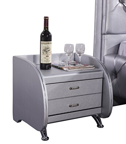 US Pride Furniture B8060-NS Faux Leather Contemporary Nightstand, Silver