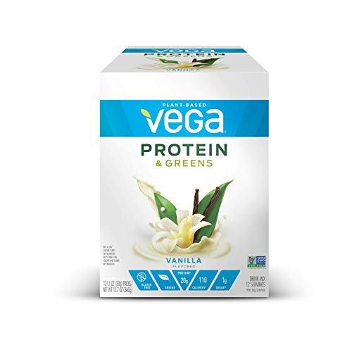 Vega Protein & Greens Vanilla (12 Count, 1 oz Packets) - Plant Based Protein Powder, Gluten Free, Non Dairy, Vegan, Non Soy, Non GMO - (Packaging may vary)