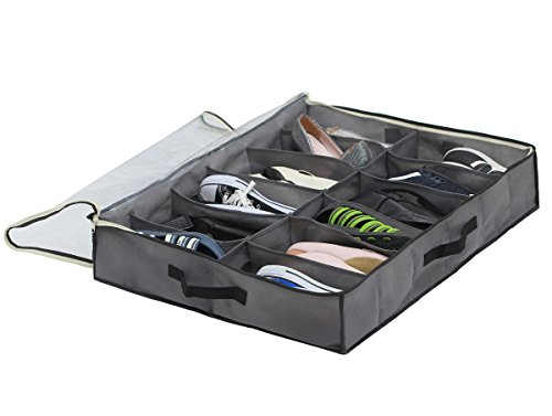 SamiTime 12 Pairs Under Bed Shoe Organizer Closet Storage Solution Organizer Box with Front Zippered Closure-ENLARGED SIZE (Containers Under Bed Shoe)