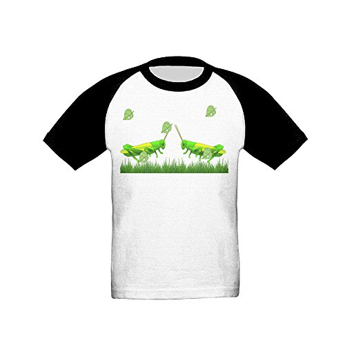 IKOU Grasshopper Courtship Boy Girl Short Sleeve Round Collar Raglan Shirt Black 4 Toddler