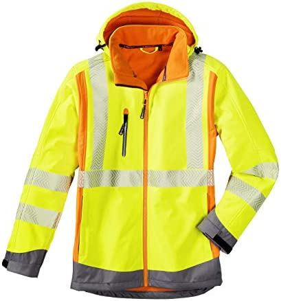 1 St/ück 3470-XXXXL leuchtorange//-gelb//grau 4Protect Warnschutz Softshelljacke Houston