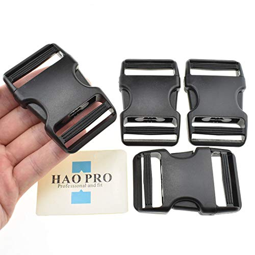 HAO PRO Quick Side Release Buckles Clips Snaps Dual Adjustable No Sewing Heavy Duty Plastic 1.5