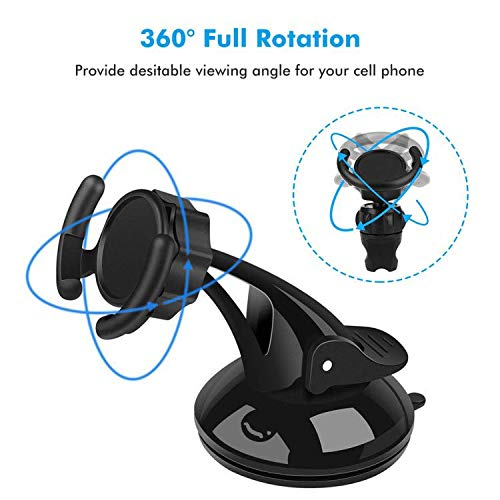 Car Mount for Pop Socket Users, Bramoss Popsocket Vent Phone Holder, 360°Rotation Windshield Pop Socket Clip Stand Holder with Adjustable Switch Lock Fits iPhone X/8, Android,Samsung Galaxy Note 9