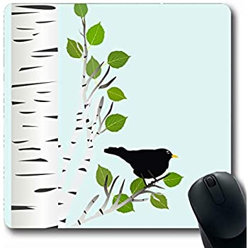 Environmental Rubber Mouse Mat Yellow and Brown,Fall Tree Branches 7.9x9.5 inch for Gaming