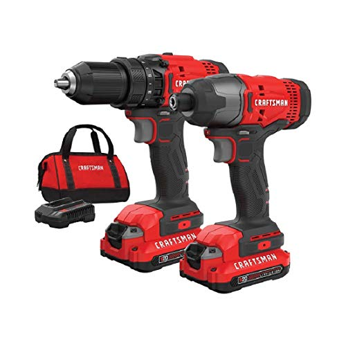 Compact Drill Craftsman - CRAFTSMAN V20 Cordless Drill Combo Kit, 2 Tool (CMCK200C2)