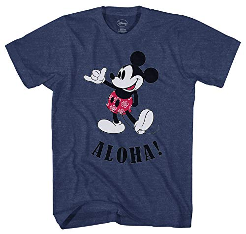 Disney Mickey Mouse Hawaii Aloha Mickey Men's T-Shirt (Large) Navy Heather