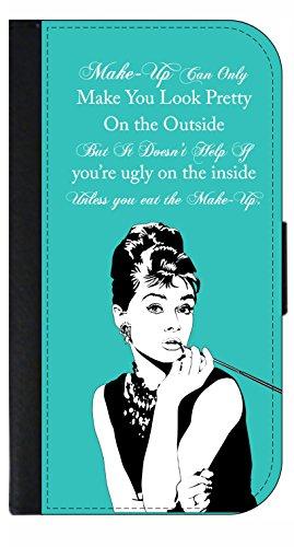 Audrey Hepburn Makeup Quote - Apple iPhone x / Apple iPhone 10 - Phone Case - Flip Wallet Style - Universal Audrey Clutch In Black