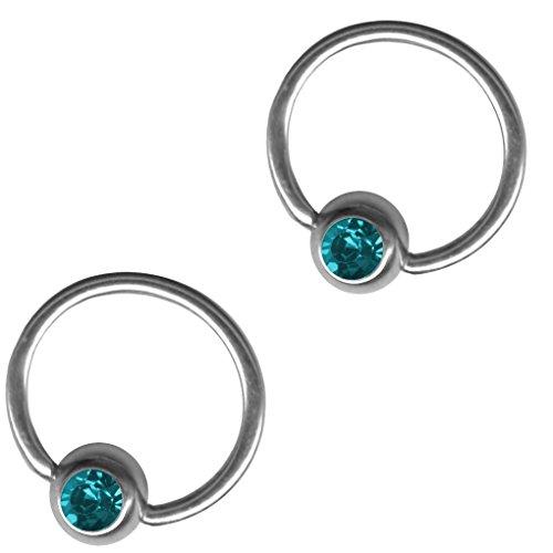 Two Turquoise Color Captive Bead Rings-20g-18g-16g-14g Cartilage Earrings-Steel CBR-Septum-Rook-Lip Hoop