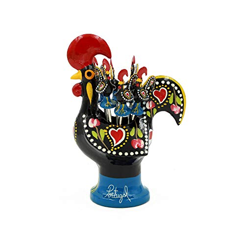 Ibergift Hand-Painted Traditional Portuguese Aluminum Rooster with 6 Appetizer Forks