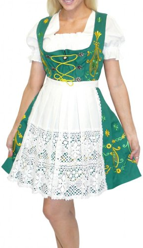 Dirndl Trachten Haus 3-Piece Short German Wear Party Oktoberfest Waitress Dress 16 46 Green by Dirndl Trachten Haus