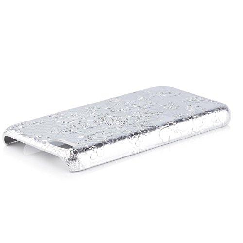 Apple iPhone 5C   iCues fleurs Argent Chromé Case   [Protecteur d'écran, y compris] Floral Ladies Femmes Filles strass Glitter Glitter luxe Bling dames femmes filles cas Chrome peau Couvercle de prote