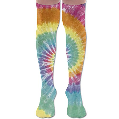 Unique Tye Dye Art Polyester Cotton Over Knee Leg High Socks Cute Unisex Thigh Stockings Cosplay Boot Long Tube Socks For Sports Gym Yoga Hiking Cycling Running Football ()