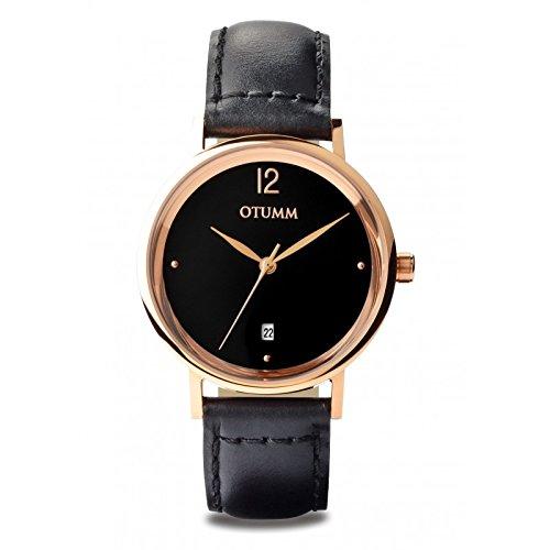 Otumm Mesh Piel Señora Oro Rosa Correa Negra Unisex Mesh Reloj: Amazon.es: Relojes