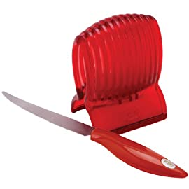 MSC International 31667 Joie Tomato Slicer & Knife, 8x6-inches, Red 74 With this tomato slicer and knife you'll create perfect tomato slices everytime Made of durable plastic Easy to use; simply place tomato in slicer and slice with knife
