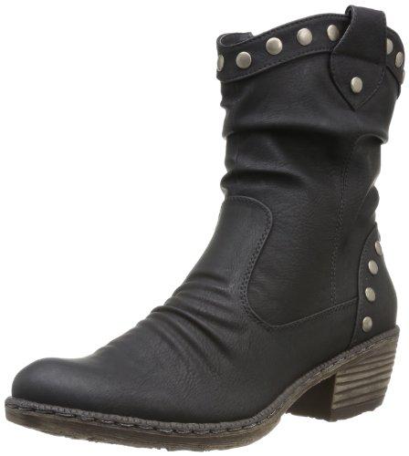 Rieker 93785 - Botas De Vaquero de material sintético mujer Negro (Schwarz)