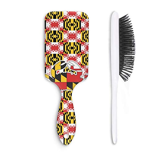 Hair Brush vintage maryland crab flag - Removes Knots and Tangles - Pain Free - Soft Fashion Comb for Adults & Kids Any ()