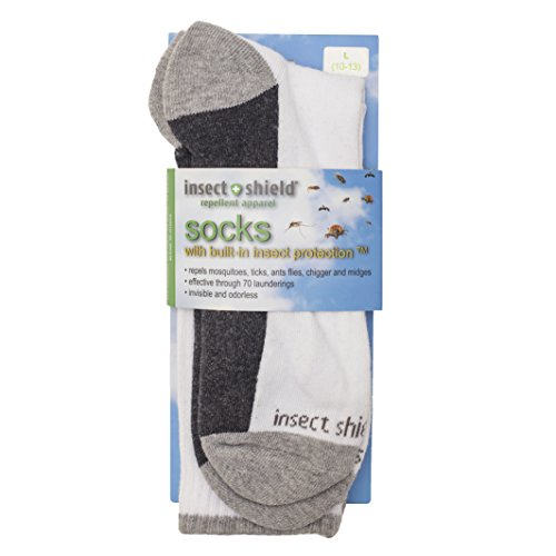 Insect Shield Sport Crew Sock, White, Medium