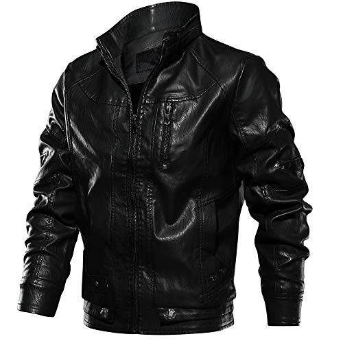 - CRYSULLY Mens Zip Up Motorcycle Windbreaker Faux Leather Jacket Bomber Jacket Thin Coat Outwear Black