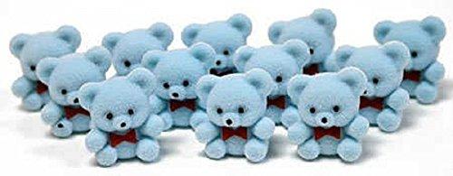 Mini Flocked Blue Teddy Bears