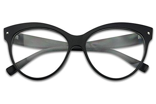 Vinatage Matte Black Cat Eye Oversized Squre Pointed Clear Lens Mod Eyewaer - Sunglasses Dorky