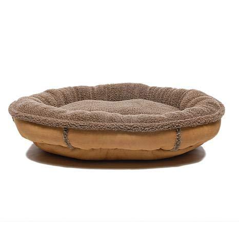 Carolina Pet 014540 F Faux Suede & Tipped Berber Round Orthopedic Foam Comfy Cup Bed - Saddle44; Medium