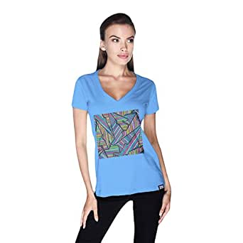 Creo Abstract 02 Retro T-Shirt For Women - Xl, Blue