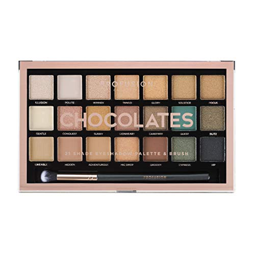 Profusion Cosmetics 21 Shade Eyeshadow Palette Collection & Brush, Chocolates