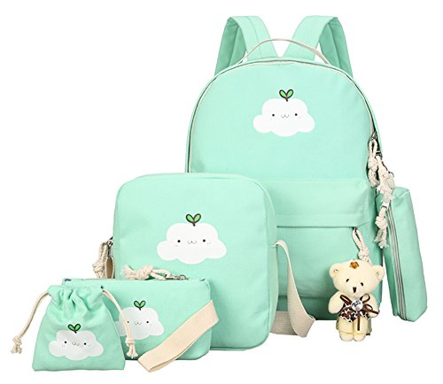 Primary Junior School Aged Girls' Teddy Decor Buy 1 Get 5 Canvas Backpack (Green)