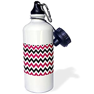 3dRose wb_210752_1 Magenta Pink, Black, and White Chevron Stripes Sports Water Bottle, Multicolored, 21 oz