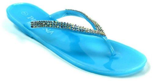 Divini Femmes Devin-02 Strass Gelée Plate Thong Sandale Bleu